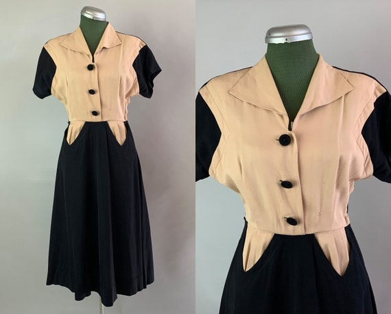 1940s Color Block Frock | Vintage 40s Wool Gabardi