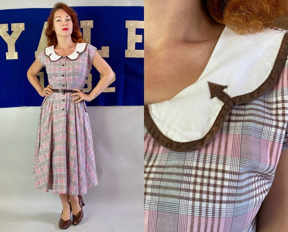 1940s Pretty in Plaid Day Dress | Vintage 40s Pink