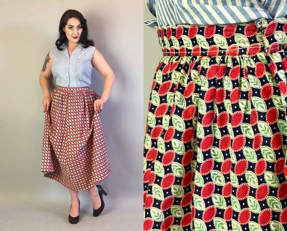 Vintage 1930s Skirt | 30s Homemade Red White Blue and Green Allover Print Full Tea Length Skirt with Leaves Polka Dots and Ovals | Medium