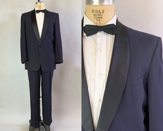 "1950s Dashing Donny Tuxedo | Vintage 50s Midnight Blue Light Wool Tux w/ Silk Satin Shawl Collar Evening Suit by ""After Six"" 
