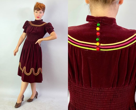 1930s Pretty Polly's Puff Sleeve Party Frock | Vintage 30s Burgundy Wine Velvet Cocktail Dress w/Multi Color Piping & Buttons | Small/Medium