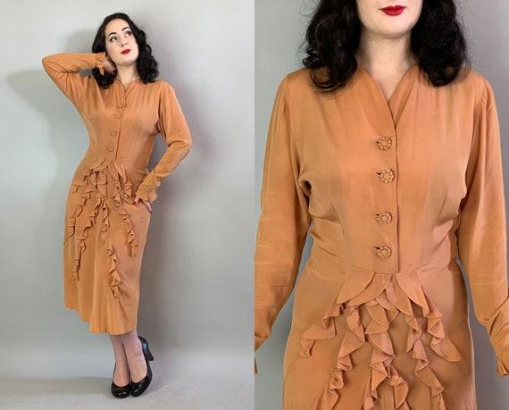 1940s Ravishingly Ruffled Dress | Vintage 40s Butterscotch Caramel Rayon Frock Cascading Ruffle Skirt Frilly Cuffs & Notched Buttons |Medium