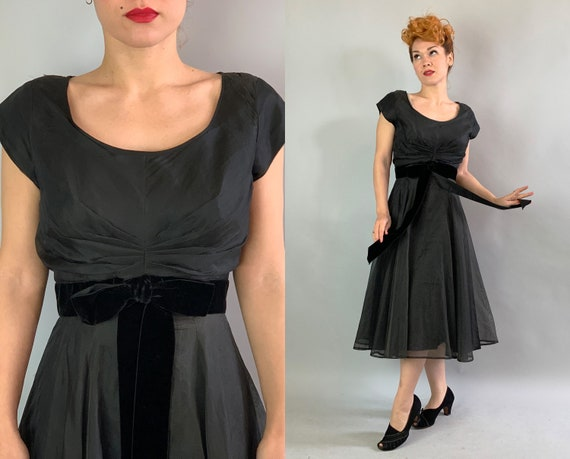 "1950s Noir Cocktail Dress | Vintage 50s Jet Black Rayon Evening Party ""R&K"" LBD Scoop Neck Frock w/Organza Overlay and Velvet Sash | Medium"
