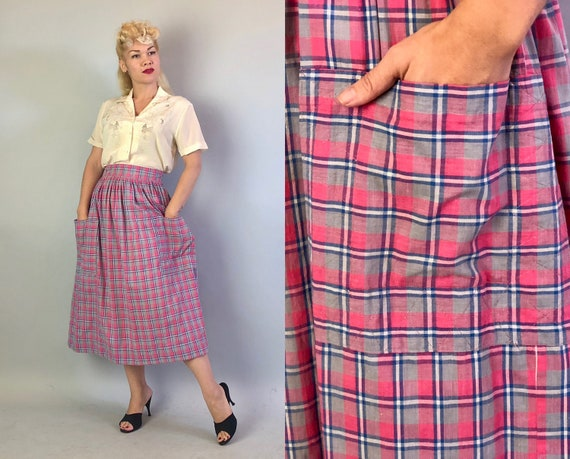 Vintage 1930s Skirt | 30s Cotton Pink, Blue, White and Grey Gray Plaid Skirt with Wide Waistband and Two Large Front Pockets! | Small
