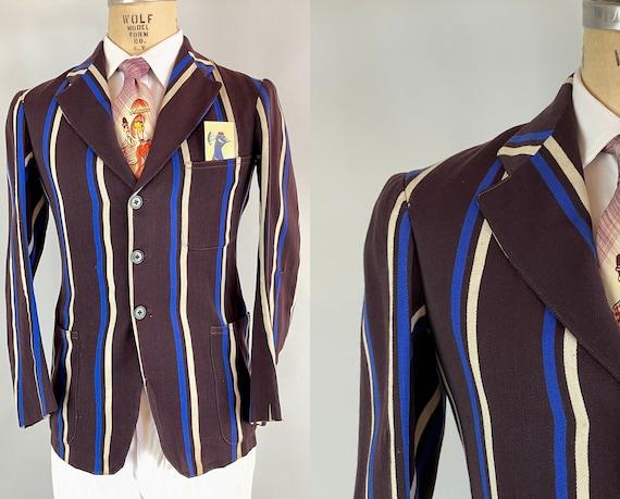 1940s Striped Collegiate Blazer | Vintage 40s Espresso Brown Wool w/Royal Blue and Cream Stripes University Jacket | Size 36/38 Small/Medium