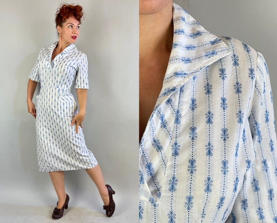 1950s Summer Sashay Dress | Vintage 50s White Cotton with Blue Woven Heart Stripe Pattern Wiggle Day Frock with Button Pockets | Medium