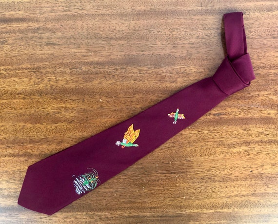 Vintage 1940s Mens Tie   40s Burgundy Wine Red Silk Necktie Hand Painted w/ a Textural Luminescent Paint of Ducks in Flight and Marsh Scenes