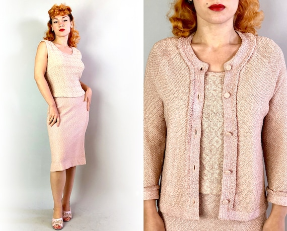 1950s Pretty in Pink Knit Dress Set | Vintage 50s Three Piece Suit of Sleeveless Top, Pencil Skirt and Cardigan w/Metallic Accents | Medium