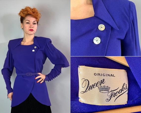 1940s Avant Garde Vamp Blazer | Vintage 40s Royal Purple Rayon Crepe Jacket Top w/Asymmetric Opening Tulip Hem & Button Up Sleeves | Medium