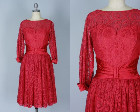 1950s Sweetheart Dress | Vintage 50s Cranberry Red Lace Cocktail Evening Party Dress with Satin Trim and Illusion Neckline | Small