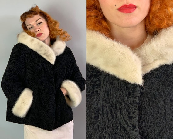 1950s Two Tone Fur Coat | Vintage Midcentury 50s Jet Black Persian Lamb and Cream White Mink Jacket w/ Cuffed Sleeves & Pockets! | Medium