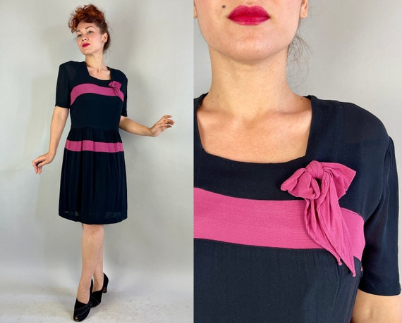 1940s Bette's Not So Basic Black Dress | Vintage 40s Rayon Crepe Cocktail Frock with Orchid Pink Color Block Inset Stripes and Bow | Medium