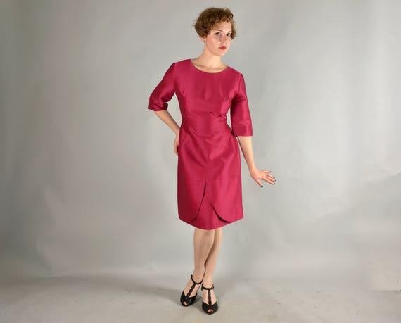 Vintage 1960s Dress   60s Hot Pink Magenta Day-to-Night Tulip Cocktail Dress   Medium