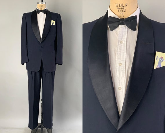 "1950s Debonaire Don Tuxedo | Vintage 50s Midnight Blue Wool Tux w/Silk Satin Shawl Collar Evening Suit by ""After Six"" 