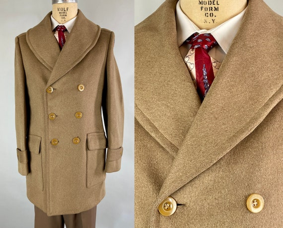 1940s 3rd in Command Coat | Vintage 40s WWII Olive Green Officers Doeskin Wool Barnstormer Mackinaw w/Shawl Collar Epaulettes | Small/Medium