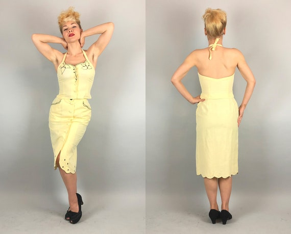 "1940s Halter Top Skirt Set | Vintage 40s Light Lemon Yellow Linen Button Down and Pencil ""Dress"" Set w/ Black Eyelet Detail 