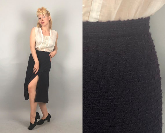 1970s Coco Chanel Skirt   Vintage 70s Classic Designer Black Nubby Wool Tweed Pencil Skirt with Seductive Front Slit   Medium