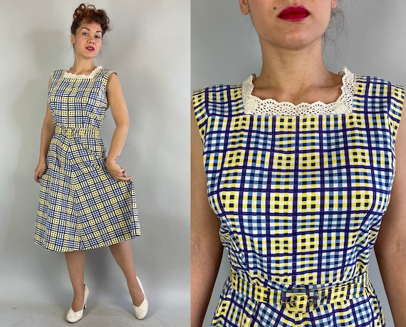 1940s Fun and Fabulous Frock | Vintage 40s Yellow Purple Blue and White Plaid Cotton Dress with Eyelet Lace and Matching Belt | Medium