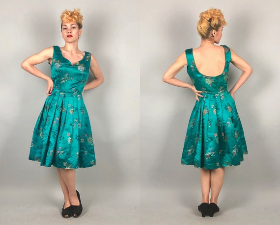 Vintage 1950s Dress   50s East Meets West Cheongsam Asian Silk Teal Green Party Cocktail Dress w/Low Scoop Back Pleated Skirt   Small Medium
