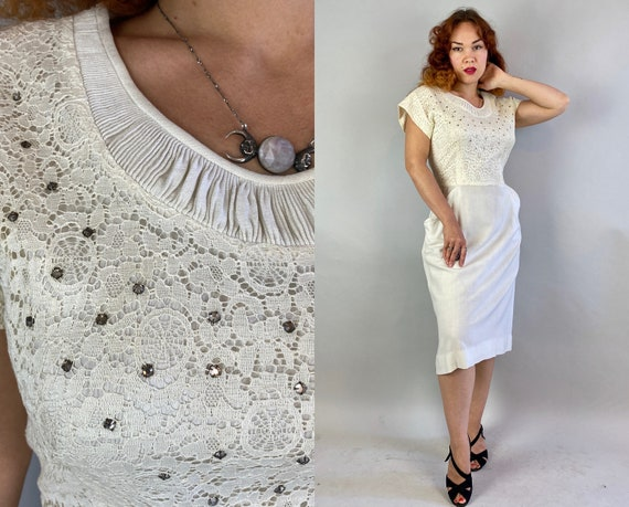1940s White Wonderland Dress | Vintage 40s Tea Time Summer Frock with Eye Catching Rhinestones and Scalloped Pockets! | Extra Large XL Volup