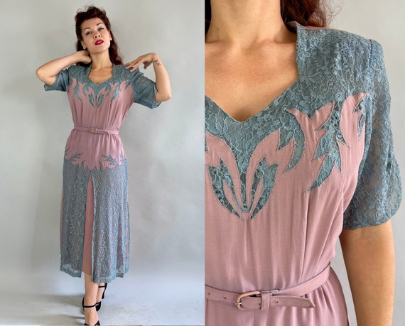 1940s Tootsie's Two Tone Dress | Vintage 40s Dusty Blue Lace and Mauve Rayon Crepe Sweethreat Neckline Cocktail Frock | Extra Large XL