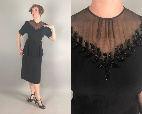 1940s Sequin Illusion Neckline Frock | Vintage 40s Black Rayon Cocktail Evening Dress with Branches and Leaves and Peplum | Medium