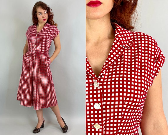 1940s Winsome Winnie's Windowpane Dress | Vintage 40s Red and White Plaid Cotton Shirtwaist Day Frock with Pleats and Pockets | Medium