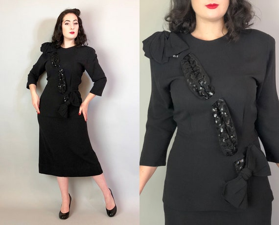 1940s Sequin Sash Dress Set | Vintage 40s Midnight Black Rayon Crepe Two Piece Cocktail Dress with Bows and Sparkling Bandolier | Medium