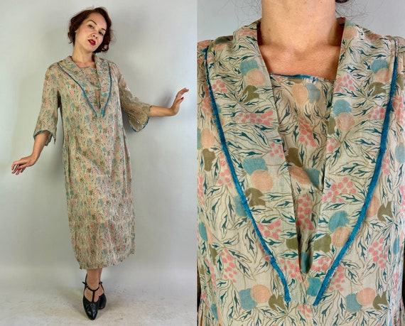 1920s Fun and Fruity Frock | Vintage 20s Grey Cotton Voile Pink & Blue Fruiting Tree Deco Print Dress w/Shawl Collar | Large Extra Large XL
