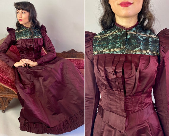 1800s Lady of Luxury Dress Set | Antique Victorian Two Piece Ox Blood Red Silk Gown Skirt and Bodice w/Black Lace over Blue | Extra Small XS