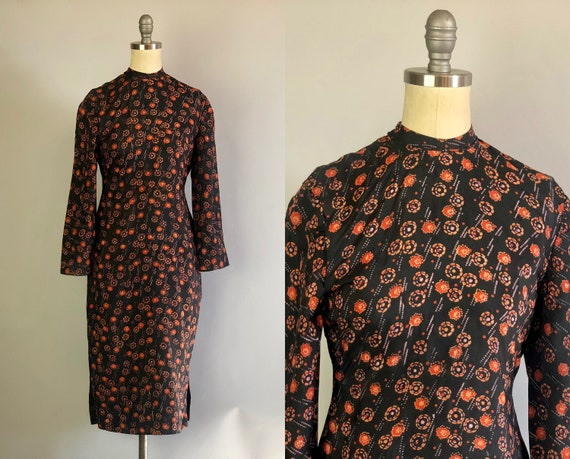 1930s Atomic Floral Cheongsam | Vintage 30s Black Silk Polkadot with Red and Fire Orange Qipao Dress Cocktail Gown | Extra Small XS
