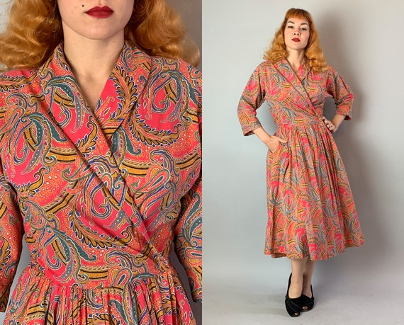 1940s Paisley Wrap Dress | Vintage 40s Cotton Pink Red Orange, Teal, Blue White & Black Print Party Day Frock w/Sewn Sash Belt | Medium