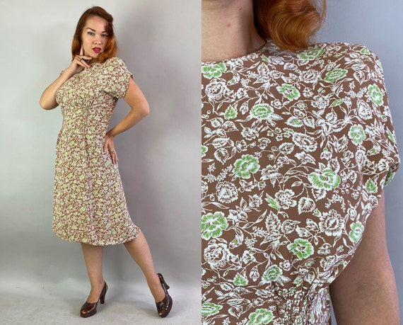 1940s Sunday Funday Frock | Vintage 40s Mocha Brown White + Lime Green Floral Print Rayon Dress w/Padded Shoulders & Smocking | Medium/Large