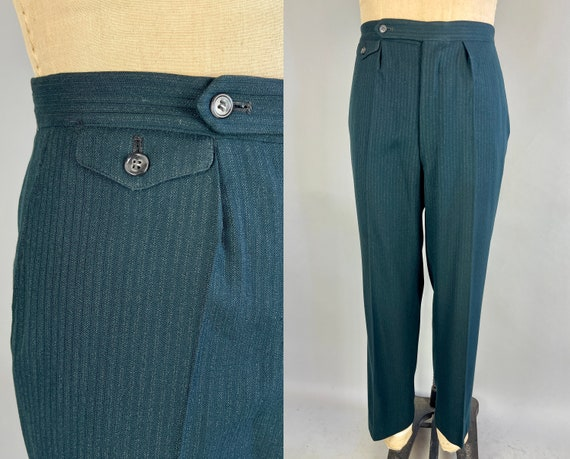 1950s Dark & Stormy Trousers | Vintage 50s Dark Teal Green Wool Slacks Pants with Grey Chalk Stripes and Waist Cinchers | 37x29 Large/XL
