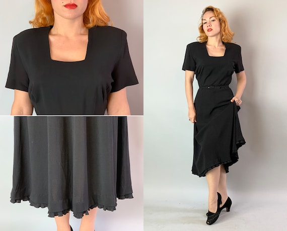1940s Cocktail Simplicity Little Black Dress | Vintage 40s Rayon LBD with Taffeta Ruffle Hem Padded Shoulders and Square Neckline | Medium