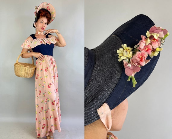 1930s Dainty Diana Gown and Hat Set | Vintage 30s Navy Blue and Pink Rayon Crepe with Poppy Print Dress with Straw Bonnet | Small Medium