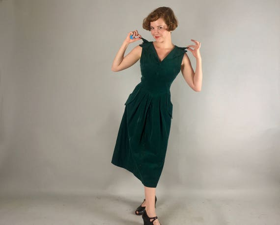 Vintage 1950s Dress   50s Emerald Forest Green Thin Wale Corduroy Day-to-Night Vampy Cocktail Evening Dress with Peaked Pockets!   Medium