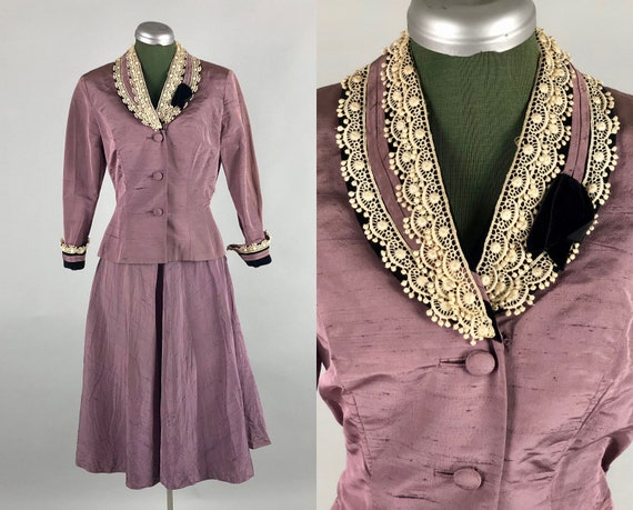 1930s 1940s Orchid Skirt Suit | Vintage 30s 40s 'Arthur Weiss' Dusky Purple Slub Silk Skirt Suit with Velvet and Lace Trim | Extra Small XS
