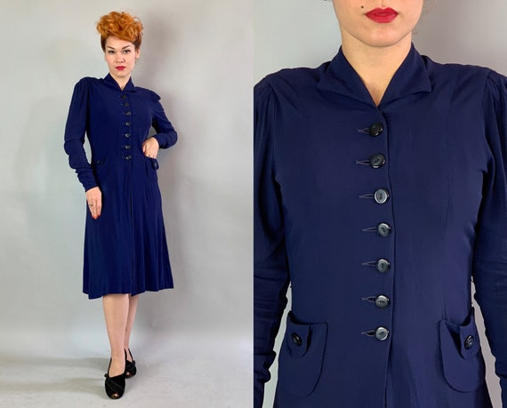 1930s Button Up Betty Dress | Vintage 30s Navy Blue Rayon Frock with Buttons Galore Puffed Shoulders and Patch on Patch Pockets | Small
