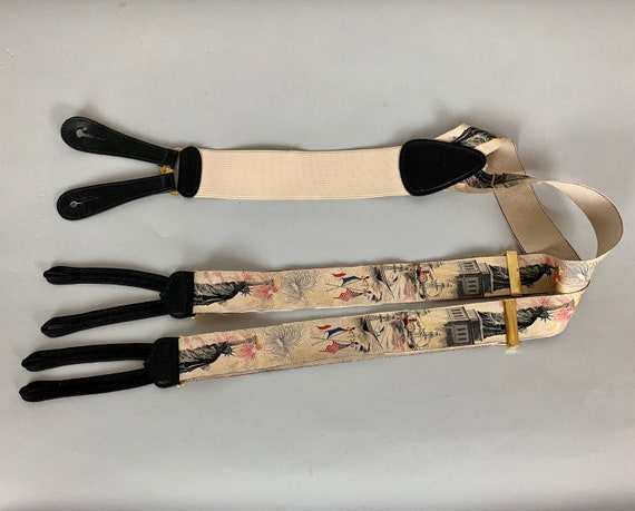 "1980s Independence Day Suspenders | Vintage 80s ""Trafalgar"" Beige Braces with Fourth of July NYC Statue of Liberty Designed by Calvin Curtis"