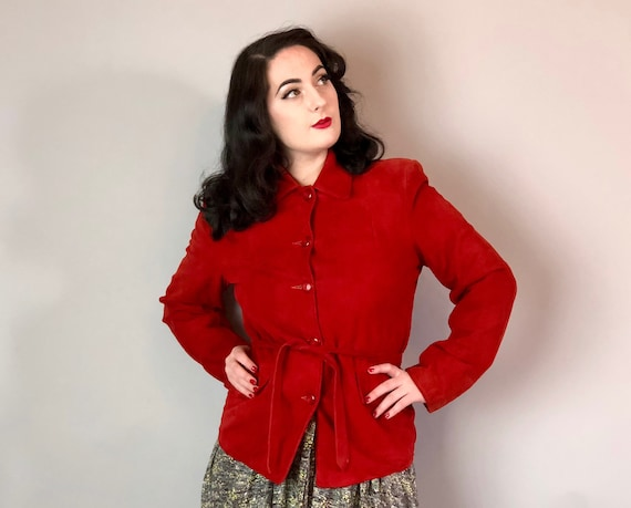 1940s Red Suede Womens Jacket | Vintage 40s Bright Lipstick Leather Tie Belt Coat w/Strong Shoulders, Pointed Collar, & Two Pockets!| Medium