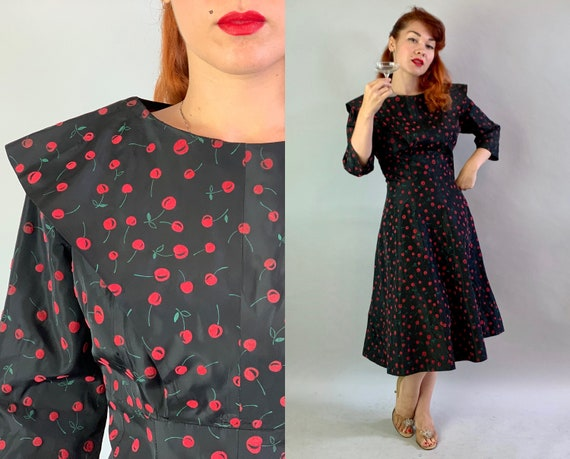 1950s Cheery Cherry Cocktail Dress   Vintage 50s Black Taffeta with Red Flocked Cherries Pattern Frock w/Cape Collar Volup   Extra Large XL