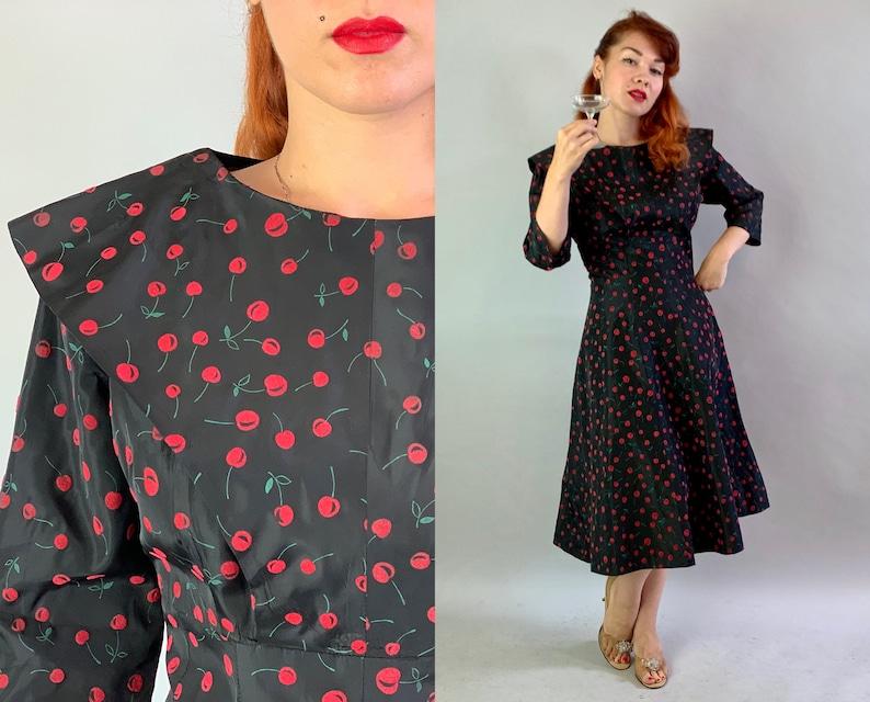 1950s Cheery Cherry Cocktail Dress  Vintage 50s Black Taffeta image 0