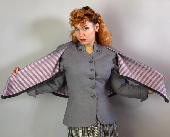 1940s Jacket & Capelet Set | Vintage 40s Gray Wool Blazer Set w/ Fringe, Buttoned Collar, and Pink Stripe Lining by 'Lady Barrington' |Small