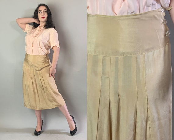"1930s Pleated Elegance Skirt | Vintage 30s Golden Cream Beige Silk Below-the-Knee Skirt w/Pleats & Wide Waistband and ""Glass"" Buttons