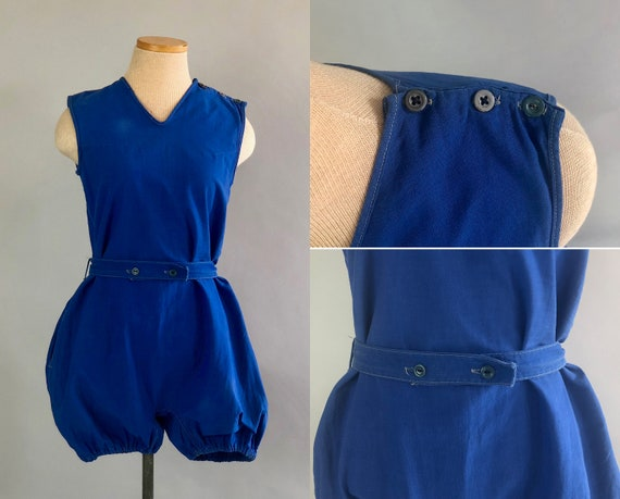 Teens Romper Playsuit | Vintage 1910s Azure Blue V-Neck Cotton Gym Togs Athletic Wear Uniform w/ Self-Belt & Button Detail | Extra Small XS