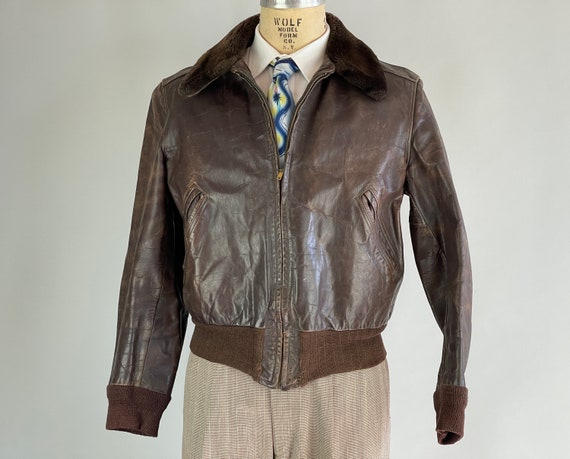 1940s Fast Frank Bomber Leather Jacket | Vintage 40s Coffee Bean Brown G-1 Style Coat w/Wool Knit Accents & Sheepskin Collar | Medium/Large
