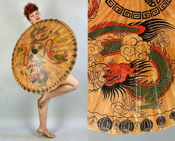 1930s Fun in the Sun Parasol | Vintage 30s Tea Stain Brown Paper Sun Umbrella Painted with Dragons and Roosters in Black Red Green Yellow