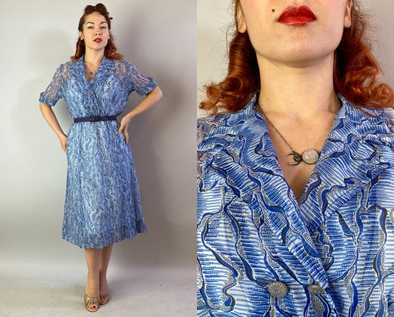 "1940s Still Waters Run Deep Dress | Vintage 40s Sheer Blue Water Print Rayon Chiffon Frock with Matching Slip by ""Peg Palmer"" | Medium"