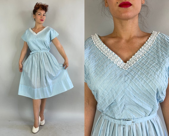 1940s Spring in Your Step Frock | Vintage 40s Sky Blue Cotton Dress with White Lace Trim Pintuck Stripes Pleats and Belt | Extra Large XL